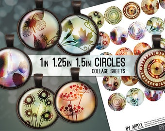 "Digital Collage Sheets Leaf Flower Butterfly  1"" 1.25 and 1.5 Inch Circles Printable Download for Pendant Magnet Bottle Cap Crafts JPG"