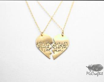 14k Gold Filled/Brass Customizable Best Friend  Heart Necklaces