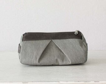 Makeup bag in grey cotton and grey leather, accessory bag pencil pouch cosmetics case toiletry storage case - Estia Bag
