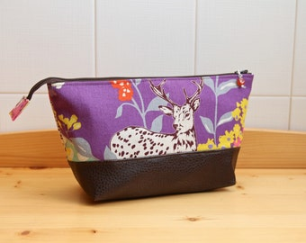 SALE Cosmetic or Toiletry Bag in Echino Deer in Purple with chocolate brown vegan leather