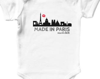 Custom baby onesie etsy made in paris france europe skyline unique custom baby onesie birth announcement pregnancy announcement hipster baby negle Choice Image