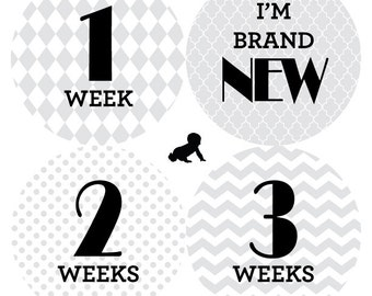 INSTANT DOWNLOAD - Printable Grey Patterned Monthly Baby Stickers - Set of 16 - One for Each Month AND Newborn Set - Photo Prop or Gift