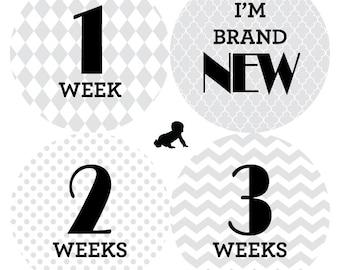INSTANT Télécharger - imprimable gris à motifs mensuel bébé Stickers - 16-un pour chaque mois et jeu nouveau-né - Photo Prop ou cadeau