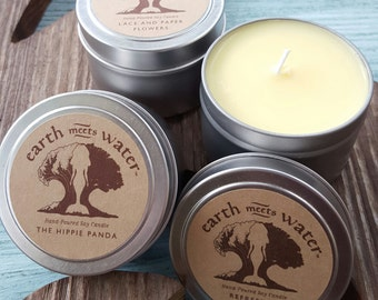 Mini Soy Candles - 4 oz Tin Container - Hand Poured Soy Candles - Travel Candles - Candle Tins