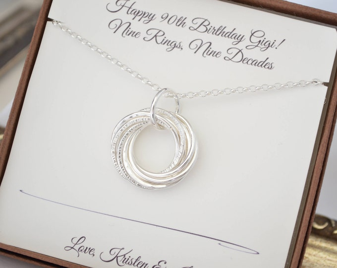 90th Birthday  Gift for mother and grandmother necklace, 90th Birthday gift for nana, 9 Rings necklace, 9th Anniversary gift, Gifts for Mom