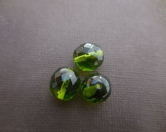 Faceted Bohemian 12 mm: 5 beads 12 mm olivine Green