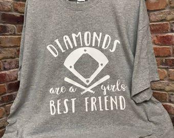 Diamonds Are A Girls Best Friend Shirt, Baseball Shirt, Softball Shirt, Women's, Girls, Vinyl, Best Friend Shirt