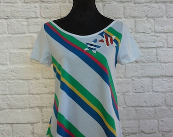 Frauen gestreiftes Hemd, gestreifte Baumwolle T-shirt, bunt gestreiftes Shirt mit Sternen in Pailletten, Streifen Jersey knit shirt