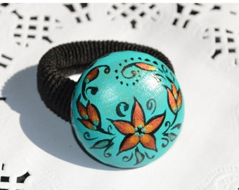 Turquoise Scrunchy Hair Jewelery Wood Jewelry Folk Art Hand Painted Scrunchy Handmade holiday jewelry Gift Idea for her Hergirlfriend gift