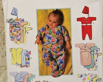 Baby Layette Sewing Pattern, Simplicity 1418, Babies Preemies, Bunting, Overalls, Top, Pants, Diaper Cover, Hat, UNCUT