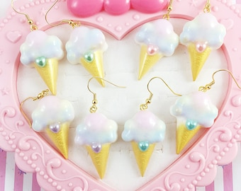 Rainbow Ice Cream Cone Earrings   Ice Cream Earrings    Fairy Kei Earrings   Sweet Lolita Earrings   Yume Kawaii Earrings   Pastel Rainbow