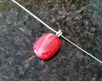Pendant Necklace, Red Orange Art Glass Jewelry