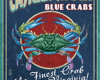 Blue Crabs Vintage Sign - Eastern Shore, Virginia (Art Prints available in multiple sizes)