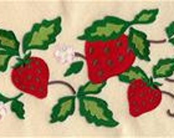 Strawberries Border  Embroidered Terry Bathroom  Hand Towel -- You Pick the Color -- Free Shipping