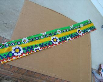 "1970s  estate find vintage wrap around scarf measures 7 "" x 48 """