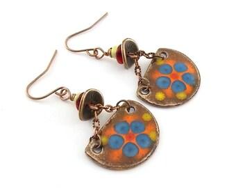 Handmade Earrings, Enameled Earrings,  Flower Earrings, Enameled Copper Earrings, Boho Earrings, Boho Chic Earrings, Brown and Blue