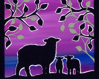 Sheep with twin lambs Limited Edition Print