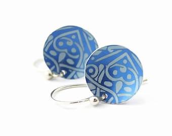 Earrings, Blue Heart Pattern, Aluminum Disc, Argentium Silver Earwires, Handmade