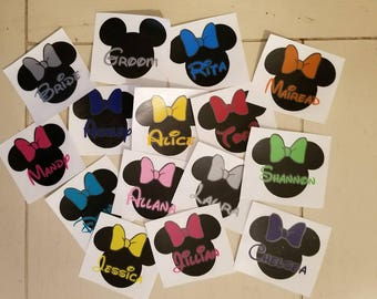 Personalized Mini Decals Minnie Mouse Set of 3
