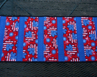 4th of July, Red, White Blue Quilted Table Runner Reverses to Fruit Tree Blossoms