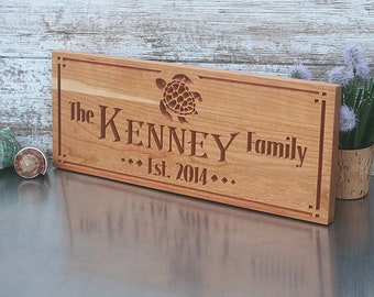 Custom Engraved Family Name Wood Sign, Beach House sign, Personalized Wooden Plaque, Rustic Wedding Sign, Benchmark Signs, Cherry TU