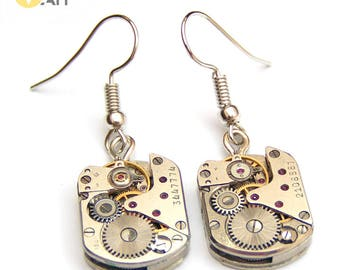 Steam Watch with Rubys Steampunk earrings Clockwork earrings Watchparts earrings Watchgears earrings Steampunk jewerly Gift for woman