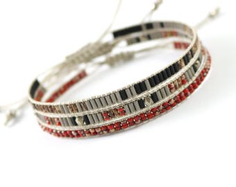 Seed Bead Bracelet, Gypsy Bracelet, Boho Bead Bracelet, Delicate Bracelet, Boho Bracelet, Layer Bracelet, gift for her, Grey and red