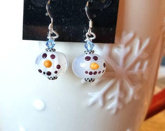 Semi-transparent Snowman earrings