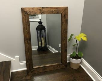 ESPRESSO Mirror, Wood Framed Mirror, Rustic Wood Mirror, Bathroom Mirror, Wall Mirror, Vanity Mirror, Small Mirror, Large Mirror, Gift