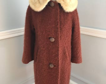 Vintage Winter Fur Collar Coat/Copper Color Winter Coat