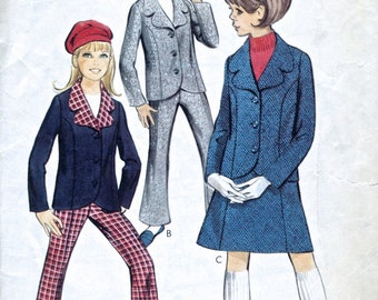 1960's Girl's Jacket, Trousers And Skirt - Vintage Sewing Pattern - Style 1969 - Breast 28.5""