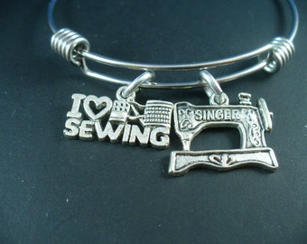Sewing Machine, I Love To Sew, Sewing Hobby,Handmade Sewn, Stainless Steel Bangle Bracelet, Trendy Inspired Style, Gift For Her