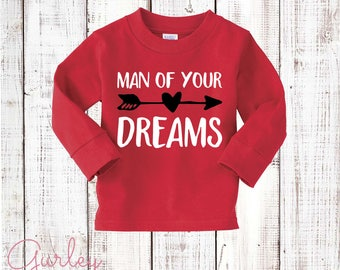 Boys Valentine's Day Shirt Red Long Sleeve