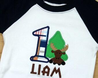 Baby Boy Moose Birthday Outfit - Moose Birthday Shirt - 1st Birthday Moose Shirt - Birthday shirt - Forest Birthday Shirt - Moose