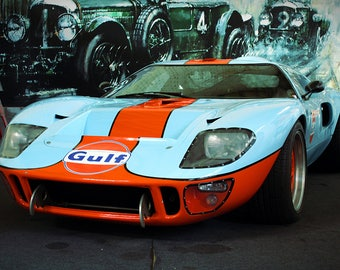 Gulf Racing Ford Gt Car Art Print Wall Decor Image Detail Colors Unframed Poster