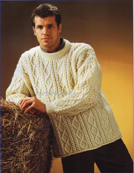 mens aran sweater knitting pattern PDF larger sizes mens aran