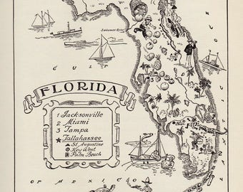 1950's FLORIDA Picture Map Pictorial State Map Print Black White Gallery Wall Art Library Map Collector Gift For Traveler Birthday Wedding