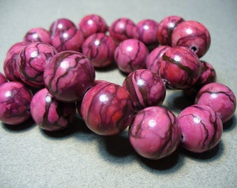 Web Jasper Beads Gemstone Raspberry  Round 15-16mm