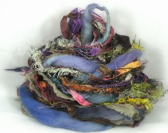 Enchanted Forest Elements 26yd Art Yarn Bundle . Mixed Media Fibers Painted Ribbon Spun Merino Wool Sari Silk Yarn Pack