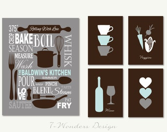 Personalized Kitchen Art Subway Style With Cups And Hearts Prints   Set Of  (5)