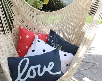 Navy Blue Love Pillow - Love Throw Pillow - Blue and White Love Pillow Cover - Hand Printed decorative pillow
