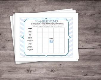 Blue Elephant Baby Bingo Card- Instant Download