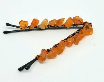 Cute Decorative Hair Pins with Wire Wrapped Carnelian Chips - July Birthstone - Hair Jewelry - Beaded Hair Pins