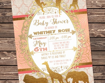 Peach and Gold Safari Baby Shower Invitation, African Animals Printable Party Invitation, Coral and Gold foil, Customized Digital Invite