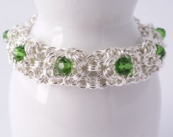 Silver plated chainmaille bracelet with faceted glass beads and rhinestone box clasp