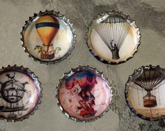 Hot Air Balloon Bottle Cap Magnet Set of 5