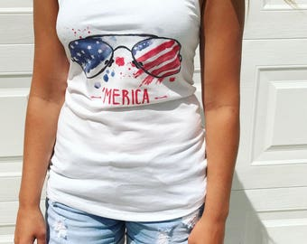 Merica Tank - Labor Day Shirt - Memorial Day Tank top - Fourth of July Shirt - Independence Day Graphic - 4th of July America