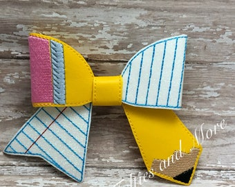 Back To School Hair Bow, Pencil Bow, Embroidered Pencil Cheer Bow, Back To School Hair Barrette, Oversized Hair Bow, Cheer Bow