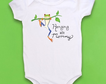 Frog baby, Cute Baby bodysuit, Unique Baby clothes, Frog baby shower, Tree Frog, Frog, Red Eyed Tree Frog