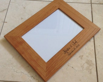 Picture Frame, Personalized Picture Frame, Wedding Gift, Wedding Picture Frame, Rustic Picture Frame, Custom Picture Frame, Engraved Frame